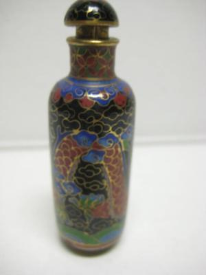 Antique Vintage Cloisonne Miniature Snuff Bottle With Design