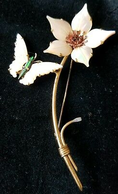 Vintage Mother of Pearl Flower & Butterfly Brooch Pin