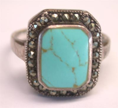Vintage Estate Sterling Silver Turquoise and Marcasite Ring WOW