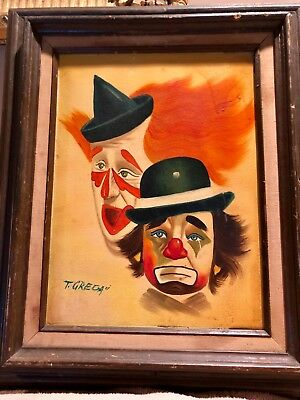 Vintage Clown Oil Painting Signed Grega -- From Florida Clown Art Museum! Bin