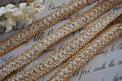 1y VINTAGE FRENCH SLVR GOLD FANCY METALLIC LUREX LACE TRIM RIBBON DOLL DRESS HAT