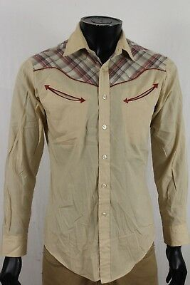 VTG Chess King Mens Western Shirt Beige Btn up Size Medium M