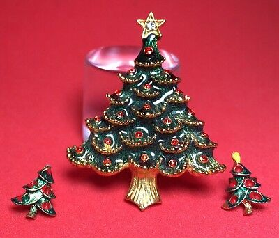 Vintage Christmas Gold Tree Enamel Brooch & Earring Set Antique Pin Rhinestones