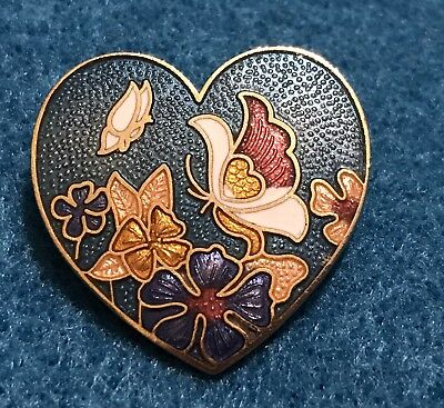 Vintage Enamel Gold Butterfly Brooch Pin Estate Cloisonné Antique Flower Floral