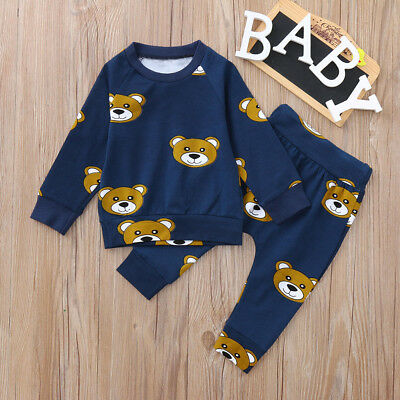 Toddler Baby Clothes Long Sleeves Cute Cartoon Bear Print Tops+Pants Set Outfits