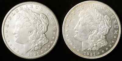 Pair of Morgan Dollars - UNC - $1 Silver - 1921-D & 1921-S