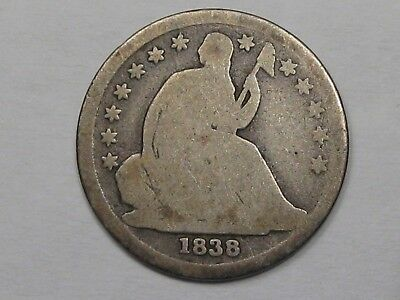 1838 Silver US Seated Liberty Dime (No Drapery - Large Stars Type).  #11