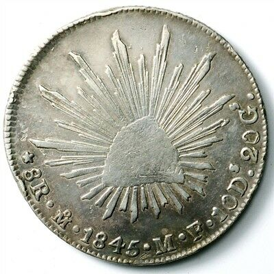 1845-Mo MF Mexico 8 Reales - KM#377.10 - Large .903 Silver Coin