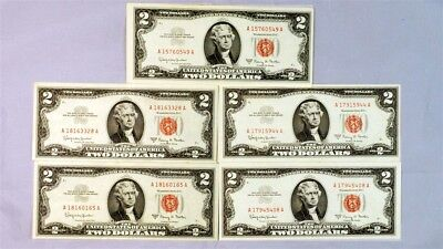 Lot of 5 Series 1963-A $2 US Red Seal Notes - Crisp AU/UNC - FR.1514