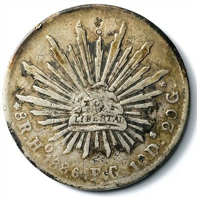 1886-Ho FG Mexico 8 Reales - KM#377.9 - Large .903 Silver Coin