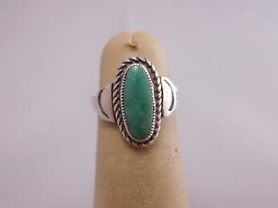 NATIVE AMERICAN INDIAN STERLING SILVER TURQUOISE STONE RING b