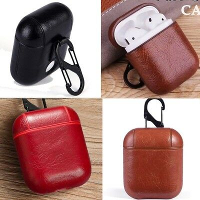 Protective Shell Leather Holder Cover Case w/ Keychain for Apple Airpods Air Pod