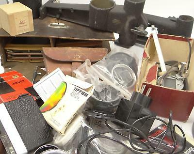 Large Lot Miscellaneous Film And Camera Parts Accessories Filters Editing Cases