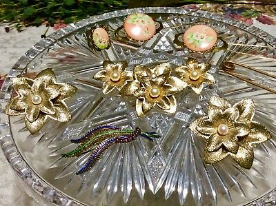 Antique Vintage Jewelry Lot Brooches Earrings Ring Barrettes 1 DAY ONLY