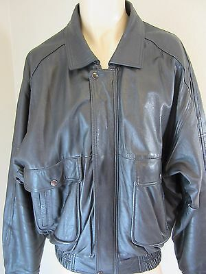 Phillipe Marcel Preowned Men's XL Black Leather Motorcycle Bomber Jacket Nice