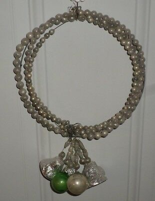"""Vtg Antique Glass Bead Christmas Wreath~7 1/2"""" plus~Old/Primitive Country Chic"""