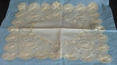 Exquisite Vintage Handmade Silk Tenerife Lace Large Wedding Hanky Tt968