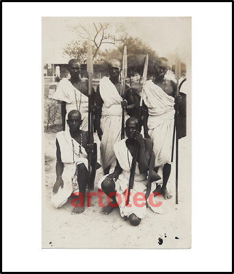 Antique photo Beja warriors w spears RARE knife Africa Sudan African