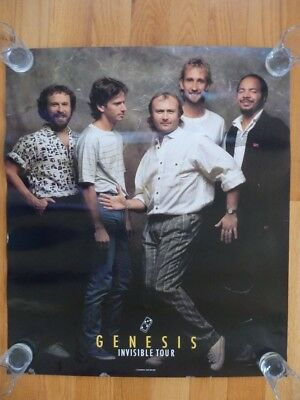 """Genesis Invisible Tour Poster 1986 28 x 24"""" Phil Collins"""
