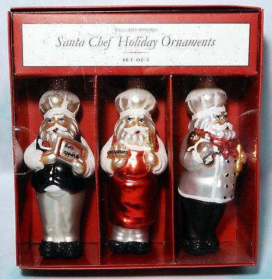Williams Sonoma 3 pcs Santa Chef Holiday Christmas tree ornament Blow Glass New