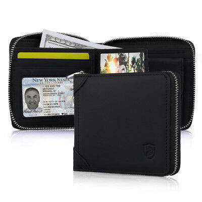 Leather Zip Around Wallet ID Card Window Secure Zipper Bifold Christmas Gift