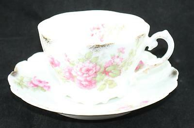 Antique Porcelain-English-Tea Cup & Saucer-Textured Surface-Roses-5494-Initials