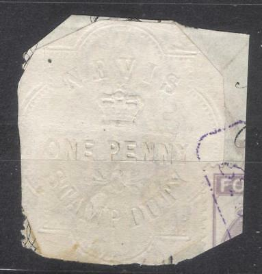 Nevis revenue 1 Penny 1877 fiscal