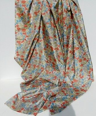 """Vintage Silk Floral Blouse Weight Fabric Yardage ~ 2 yds 28"""" x 36"""" w"""