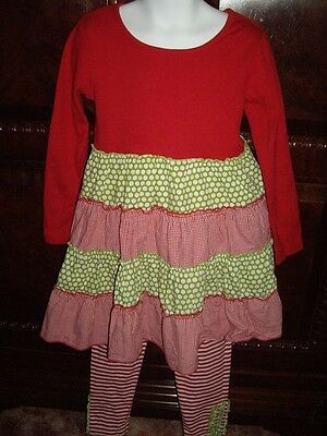 EUC Girls Size 4 Boutique Beehave 2pc Dress Leggings Red Green Christmas