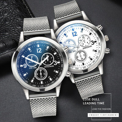 Men's Military Watches Analog Quartz Stainless Steel Big Dial Wrist Watch Gift