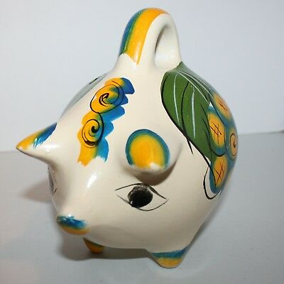 "8"" Vintage Ceramic Mexican Handle Piggy Bank. Clay Pig Painted 1970s. Flowers"