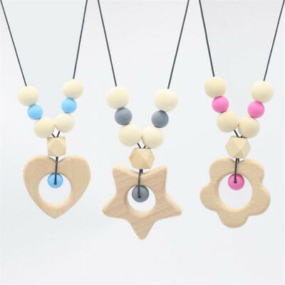 Silicone Teething Silicone Wooden Beads Necklace Nursing Sensory Jewelry Toy HZ