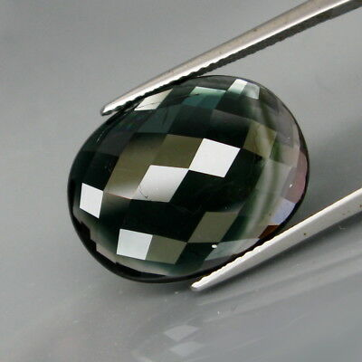 12.72Ct.Ravishing Color! Natural BIG Blue & White Tourmaline Oval Checkerboard