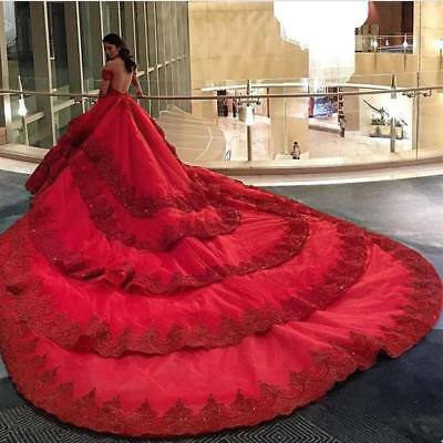 Red Wedding Dresses Bridal Gowns Off Shoulder Lace Princess Sweep Train Backless