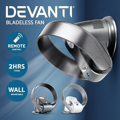 Devanti Bladeless Fan Desktop Fan w/Remote Wall-Mountable Oscillation Cooling