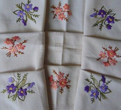 Vintage Unused Raised Hand Embroidery Spring Floral Cotton Tablecloth 88 X 77.5