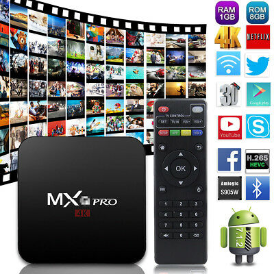 MXQ PRO Android 7.1 Set Top Box 4K Quad Core SMART TV BOX Media Streamer Wifi 3D