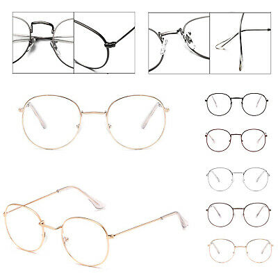 Oval Round Glasses Metal Frame Clear lens Vintage Retro Geek Fashion Glasses