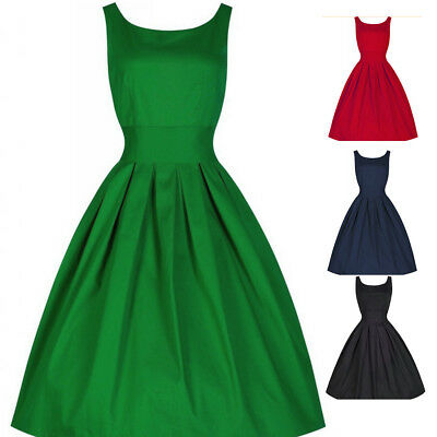1950s Women's Vintage Swing Evening Party Solid Dress Sleeveless O-neck Retro