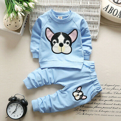 Boy Girl Kid Clothes Long Sleeve Animal Print Tops+Pants Cute Baby Outfit Set US