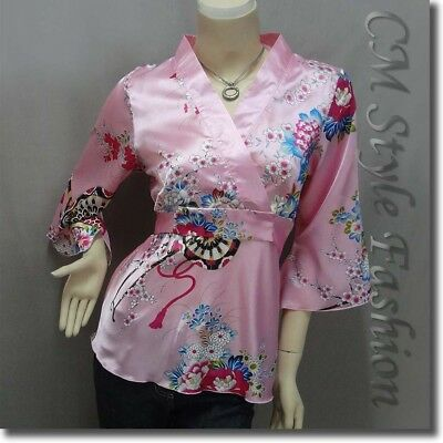 * Japanese Kimono Silky Satin Crossover Back Tie Blouse Top Pink M