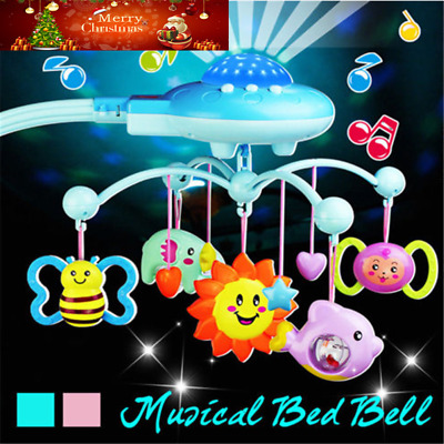 UK Baby Musical Crib Mobile Bed Bell Toys Hanging Rattles Stars Light Flash HOT