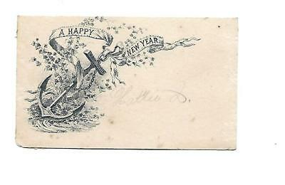 A Happy New Year Anchor Ribbon B&W Vict Card c1880s