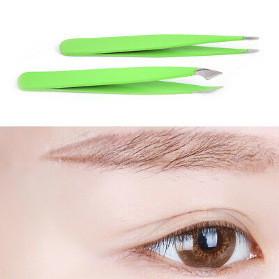 2Pcs/Set Green Hair Removal Eyebrow Tweezer Eye Brow Clips Beauty Makeup Tool DS
