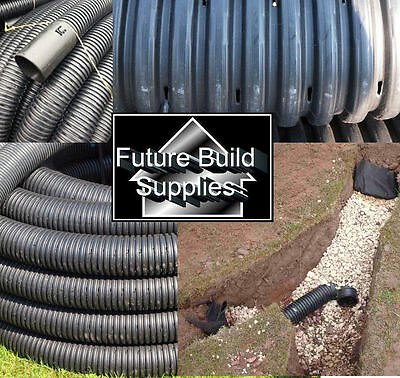 "80mm 3"" Land Drain x 50m mtr Metres Tree Planting Perforated Drainage Coil Pipe"