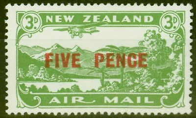 New Zealand 1931 Air 5d on 3d Green SG551 Fine & Fresh Mtd Mint