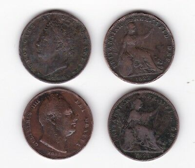 Small lot copper farthings george IV and a william 1835 1828 1822