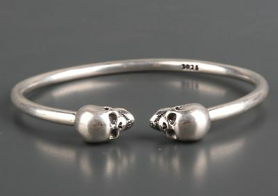 Antique Limited Edition Fine 925 Silver Hand Carving Skull Cool Bracelet Rare