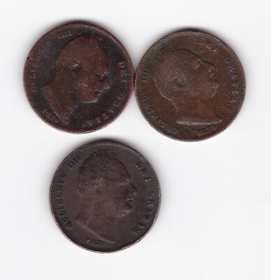 Three low grade william IV farthings copper 1834 1835 and 1837