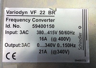Schindler VF 22 BR  Frequency Converter Output: 3AC 0...340V 0...150Hz 21A opt..
